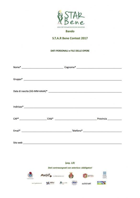 STAR Bene Regolamento Contest2017 FINALE - Modulo 1