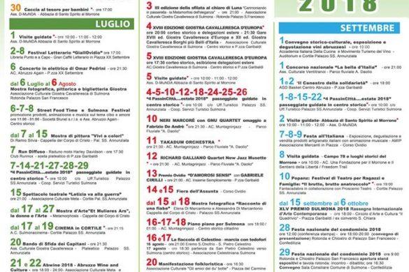 Eventi Estate 2018 - Sulmona - L'Aquila