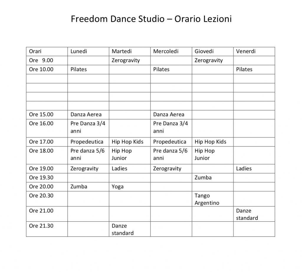 Freedom Dance Studio scuola di danza a Teramo - Orario Lezioni