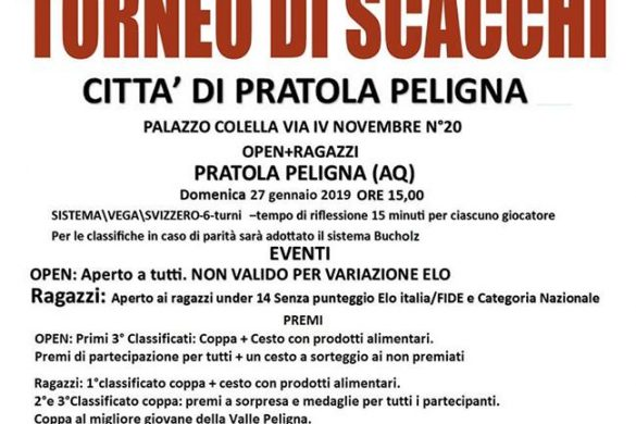 Torneo-di-scacchi-Pratola-Peligna-L'Aquila- Eventi per bambini in Abruzzo weekend 25-27 gennaio