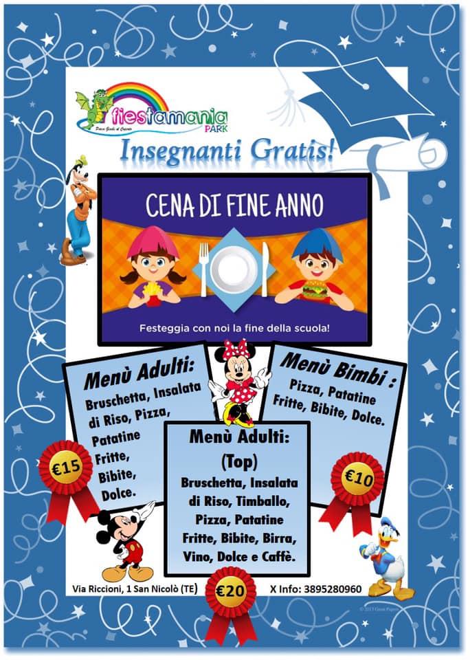 Promozione cena di fine anno scolastico di Fiestamania Park