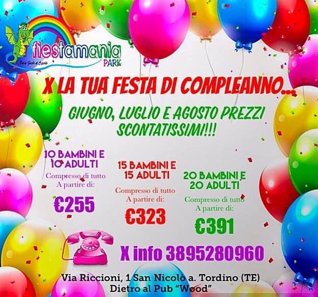 Promozione cene di fine anno scolastico da Fiestamania Park di Teramo