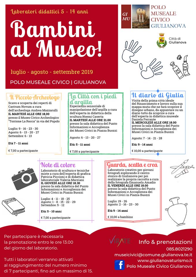 Programma laboratori Bambini al Museo 2019 a Giulianova