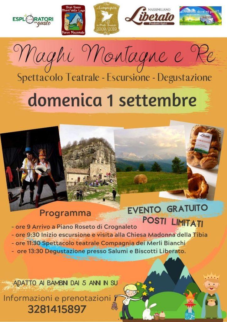 Maghi Montagne e Re spettacolo con escursione e degustazione a Crognaleto