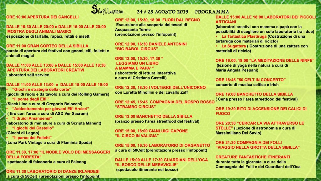 Programma Sibyllarium 2019 a Acquasanta Terme