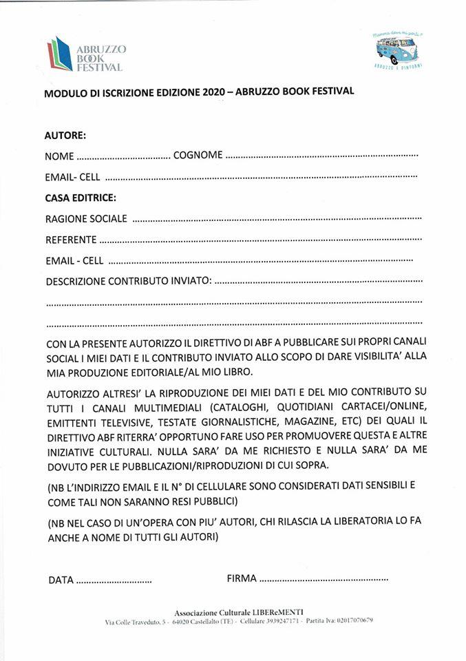 Modulo iscrizione a Abruzzo Book Festival edizione 2020