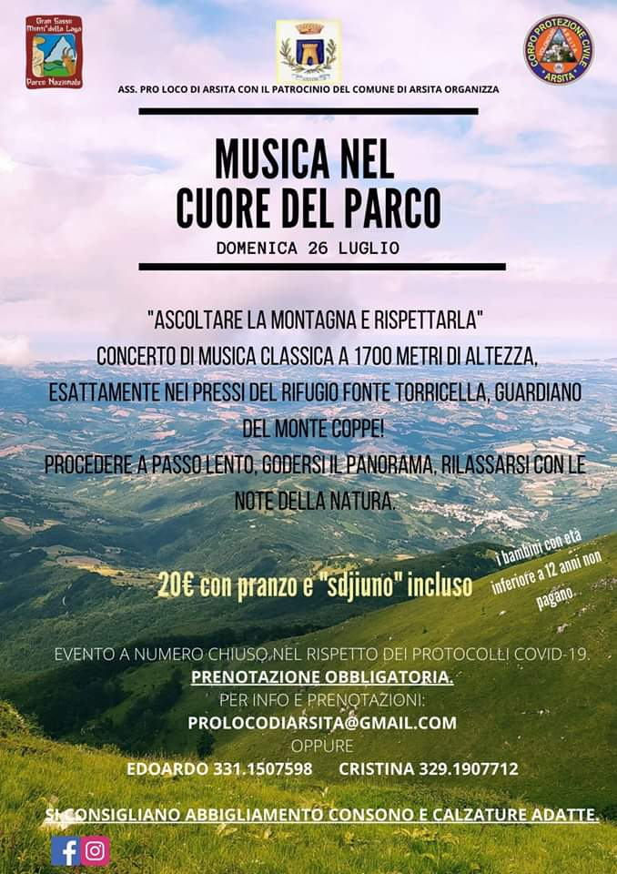 Musica nel cuore del parco per gli eventi di luglio ad Arsita di Teramo