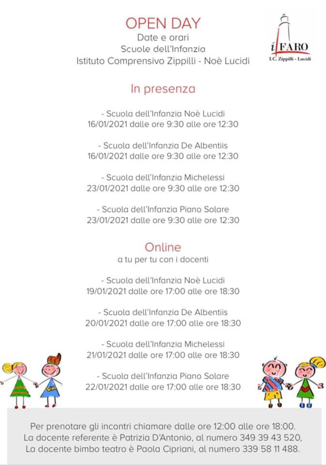 Open Day 2021 Scuole di Teramo Infanzia Istituto Comprensivo Zippilli - Noè Lucidi