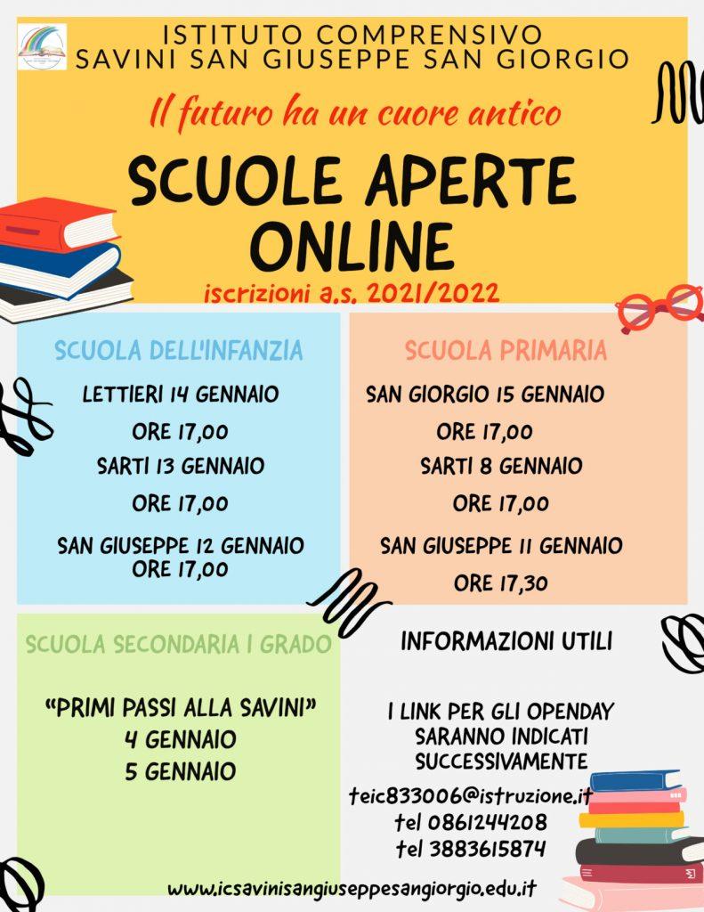 Open Day 2021 Scuole di Teramo Istituto Comprensivo Savini San Giuseppe San Giorgio