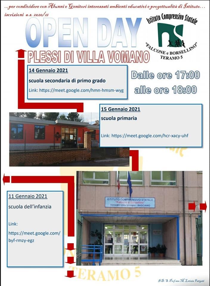 Open day 2021 Scuole di Teramo Istituto Comprensivo Falcone e Borsellino - Plessi Villa Vomano