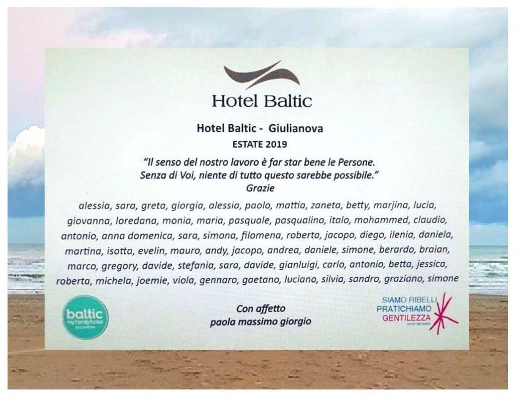 Targa estate 2019 dell'Hotel Baltic di Giulianova