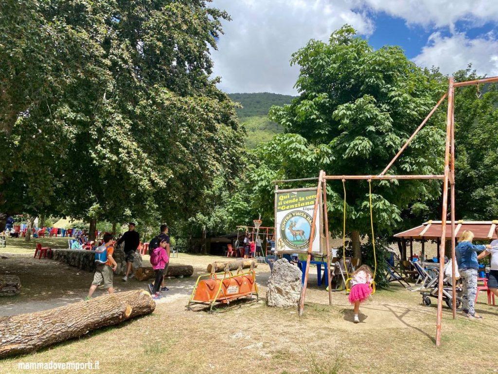 Area giochi del Centro Visita Daini a Villetta Barrea