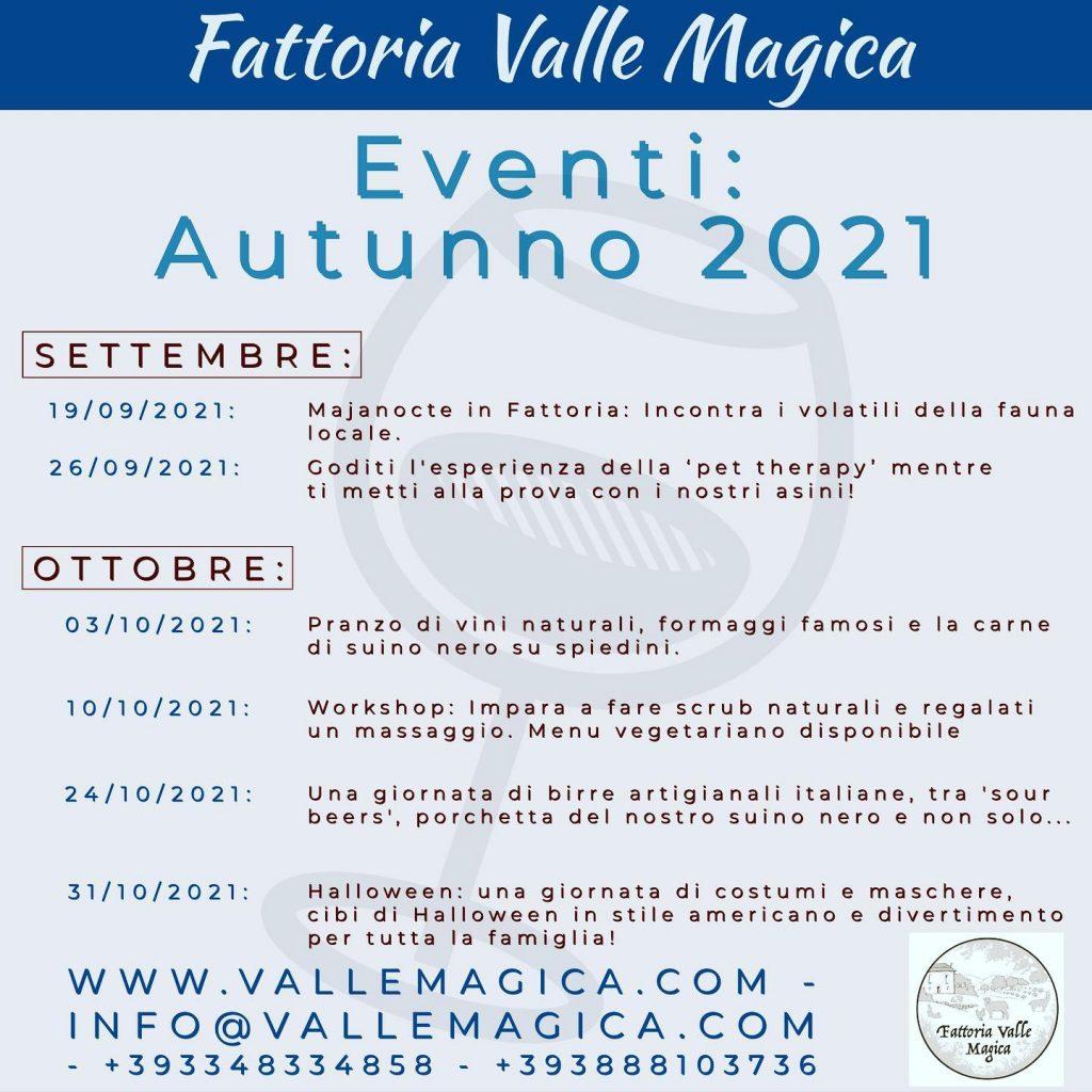 Eventi autunno 2021 Fattoria Valle Magica