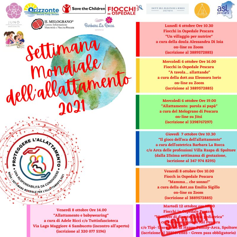 Settimana mondiale dell'allattamento 2021 in Abruzzo